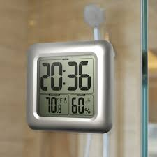 Baldr Waterproof Bathroom Clock LCD Digital Wall Mirror Suction Cup Kitchen Temperature Humidity Sensor Time Watch Shower In Clocks From Home