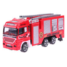 High Simulation Mini Fire Engine Model Alloy Vehicles Truck Toy Kids ...