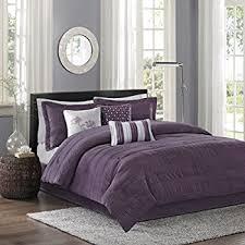 amazon com madison park palmer comforter set queen plum home