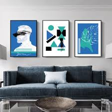 100 Pop Art Home Decor Colorful Abstract Man Blue Green Geometric Fine Canvas Prints Nordic Wall For Modern Apartment Living Room