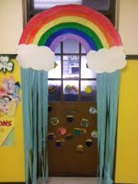 Patricks Day Rainbow Door Display And Bulletin Board Idea Use For April Thunder Cloud Instead Of On Top With Raindrops Lightning
