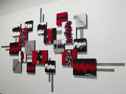 Black Abstract Walls Painting With The Combination Of Red White