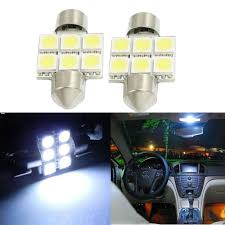 2 x 31mm 5050 6 smd dome light bulbs de3175 de3022 white interior