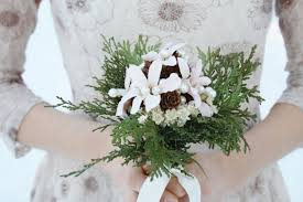 Rustic Bridal Bouquet Winter Wedding White Flowers Natural Cedar Pinecone Woodland Silk ELVES