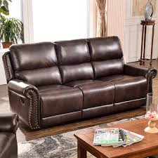 Harper Bright Designs Sectional Recliner Sofa Set Brown 3Seat Recliner