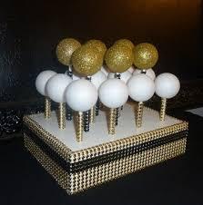 Gold Black Bling Faux Rhinestone White Cake Pop Stand Lollipop