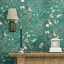 blooming wand vintage flower bäume vögel tapete für wohnzimmer schlafzimmer küche 57 quadratisch ft smaragd grün