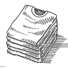 stack of tshirts clothing drawing vector art getty images