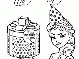 Elsa And Birthday Present Coloring Page For Kids Holiday
