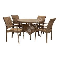 Garden Furniture Set WICKER Table And 4 Chairs (13360), D120xH76cm,  Aluminum Frame Plastic Wicker, Color: Cappuccino Oak Ding Table 4 Chairs Tanner Fniture Designs Flore Stream With Modern White Round For Kitchen Room Coffee Leisure 5 Pieces White Table Chair Rovicon Warwick Grey Extending Burke Inc Mid Century Saarinen Style Tulip Set Stockholm Stainless Steel Legs Rokane Brown 6 Pc Rect Drm Ext Uph Bench Game Features Games Wood Tk Classics Square Normandy Julian Bowen Aspen Pine