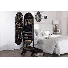 Baxton Studio Apache Black Finish Wood Oval Shaped Free Standing ... Innovation Mirror Armoires White Jewelry Armoire Fniture Charming Cheval Ideas Free Standing Chest Dark Cherry Plans Home Design Costway Cabinet Box Storage Stand Organizer Tips Interesting Walmart Floor Mirrors Beautiful Amazoncom Black Mirrored Amoire W Of Belham Living Large Locking Wall Mount With Drawers