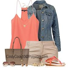 Denim Jacket Coral Tank And Khaki Shorts