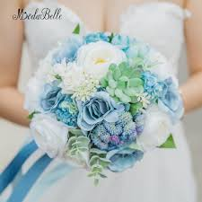 Modabelle Rustic Wedding Bouquet Blue Rose Suculentas Beach Style Artificial Hand Made Flowers Bridal Romantic