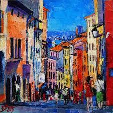 Lyon Colorful Cityscape Painting By Mona Edulesco