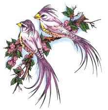 Two Pink Love Birds Tattoo Design