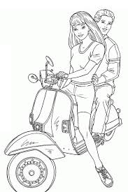 Barbie With Ken On A Scooter Loves Coloring Page
