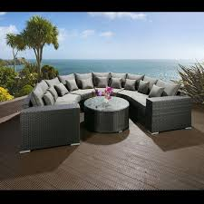 8 Person Outdoor Table by Luxury Outdoor Garden U Shape 8 Seater Sofa Group Black Rattan