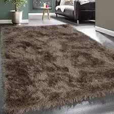 paco home moderner wohnzimmer shaggy hochflor teppich soft garn in uni braun beige grösse 160x230 cm