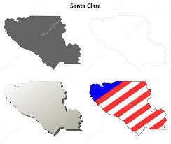 Santa Clara County California Outline Map Set Stock Vector