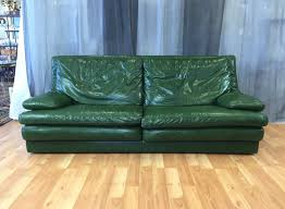 100 Roche Bobois Sofas Vintage Green Leather Sofa SOLD Past Perfect