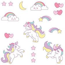 Booizzi Cute Unicorn Rainbow Colour Wall Sticker Set Child Bedroom Dec All Things