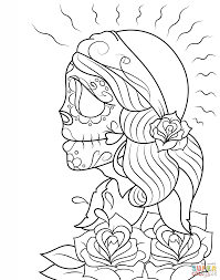 Click The Day Of Dead Girl Skull Coloring Pages To View Printable Version Or Color It Online Compatible With IPad And Android Tablets
