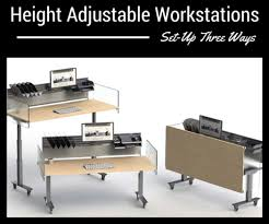 Space Saver Desk Workstation by Shape Height Adjustable Workstations Mobile Space Saving Sit