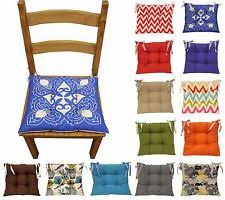 Colourful Seat Pad Dining Room Garden Kitchen Chair Cushions Tie On Many Colours