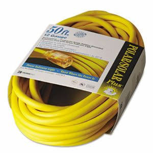 Coleman Cable 01688 Insulated Outdoor Extension Cord - with Lighted End, 50', 12/3 Guage Wire