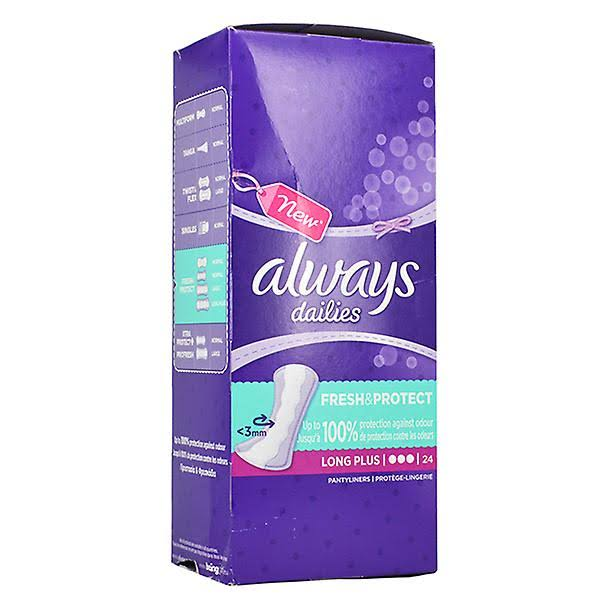 Always Dailies Extra Prot Long Plus Panty Liners - 24pk