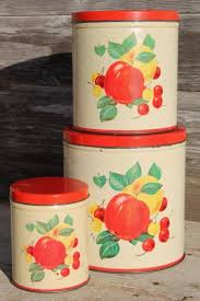 mid century vintage metal kitchen canisters w bright fruit print