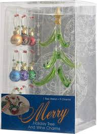 LSArts Glass Christmas Tree With Wine Charm Ornaments Multicolored 8 Inch