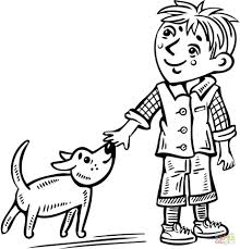 Coloring Pages Free Printable Boy Sheets Walking Dog Page Baby Shower
