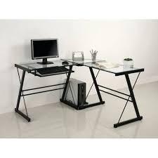 desk glass and black metal corner computer desk staples black