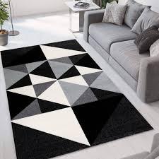 rechteckiger teppich grau schwarz modernes geometrisches design gri013