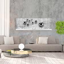 vlies leinwand bilder 3d abstrakt kugeln grau silber beton