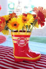 Fireman Boot Flower Centerpiece From A Vintage Themed Birthday Party Via Karas Ideas KarasPartyIdeas