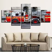 Hot Sale Abstract Modern Home Decor Canvas Print 5 Panel Fire ...