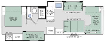 Travel Trailer Floor Plans With Bunk Beds by Chateau Class C Motorhomes Floor Plan 30d Thor Motor Coach
