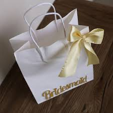21X27X11cm Large White Paper Bags With Handle Bridesmaid Gift Bag Handlewedding Bow