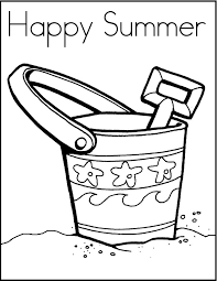 Happy Summer On Beach Coloring Picture For Kids