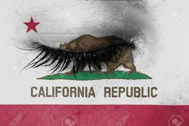 Crying Woman Pain And Grief Concept Flag Of California Stock Photo