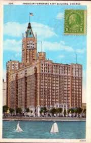 AMERICAN FURNITURE MART BUILDING – SAILBOATS ON LAKE – STAMPED ON