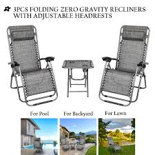 Chaise Lounge Outdoor, 3-Piece Elastic Headrests Included Lawn Chair Set,  Folding Zero Gravity Chair & Table W/ 2 Cup Holders, UV Resistant Reclining  ... Portable Char Foldng Campng Beach Outdoor Pato Lawn Photo Of Folding Patio Chairs Plastic Cosco Products Sco Living All Steel 3piece Pnic Time Pink Sports Chair With Stripes With Table Attached Refurbished Repurposed Materials 10 The Black And White Wedding Reception Dinner Table Setup Chaise Lounge Elastic Headrests Included Set Zero Gravity W 2 Cup Holders Uv Resistant Recling Padded Ideas Dectable Wood And Wooden Foldable Mainstays Sand Dune Tan Walmartcom Vintage Mid Century Modern Slats