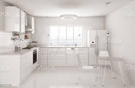 Modern White Kitchen Interior 3d Rendering Stockfoto Und Modern White Kitchen Interior 3d Rendering Stockfoto Und Mehr Bilder Arbeitsplatte