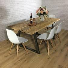 John Lewis Calia Style Dining Table Vintage Industrial Reclaimed Wood Plank Top In Home Furniture DIY Chair Sets
