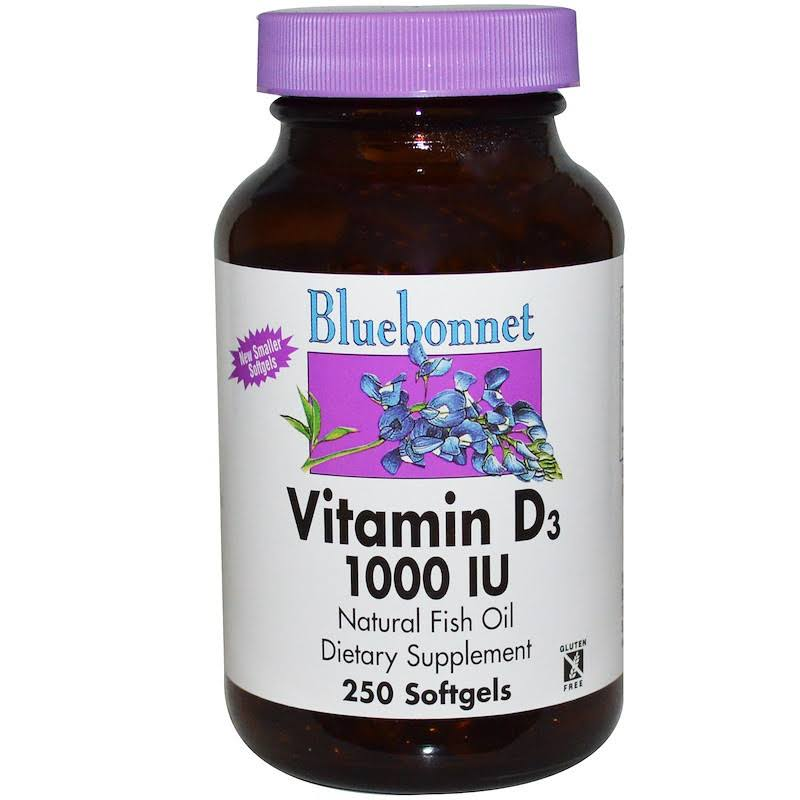 Bluebonnet Vitamin D3 1000 IU Vegetable Softgels Supplement - 250ct
