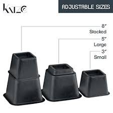 bed risers adjustable heavy duty 8 piece set 3 or 5 or 8 inches
