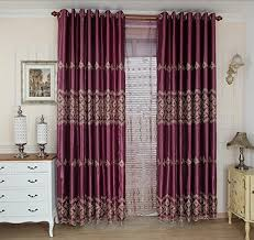 Purple Ruffle Blackout Curtains by Fadfay European Luxury Embroidered Sheer Curtains Custom Made