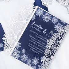 Glittery Silver And Blue Winter Snowflake Wedding Invitations With Pearl White Buckles EWWS216